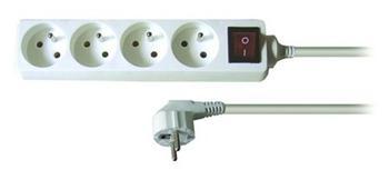 Kabel 250V/10A prodlužovací přívod 3m, 4 zásuvky, s vypínačem