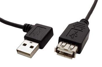 USB 2.0 kabel prodlužovací A-AF 15 cm lomený vpravo